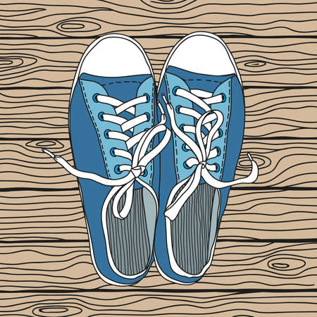 Vector drawing of a pair of gym shoes with rubber soles and with laces on a wooden background. Иллюстрация