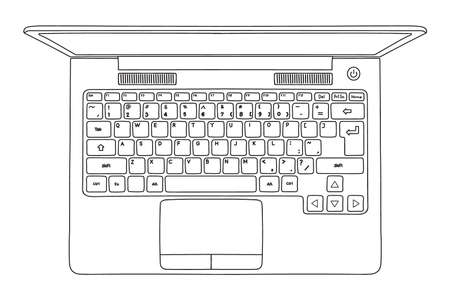 Vector sketch of an open laptop isolated on a white background. Close-up top view.