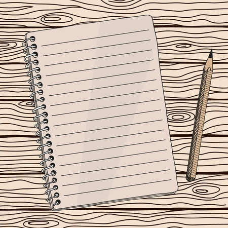 Open notebook with a spiral and a simple pencil. Close-up from above. Quick hand sketch. Иллюстрация