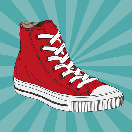 Vector drawing of a red gym shoes with rubber soles and with laces.