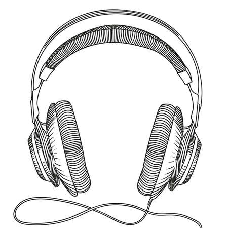 Studio headphones with cable for listening to music. Vector image isolated on white background.