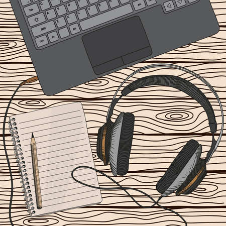 Vector sketch of a studio headphones connected with a cable to the laptop on the background of wooden boards.