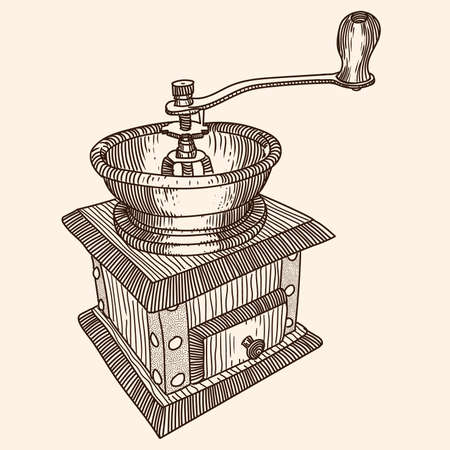 Manual wooden coffee grinder with a bowl for coffee beans. Fast linear sketch.