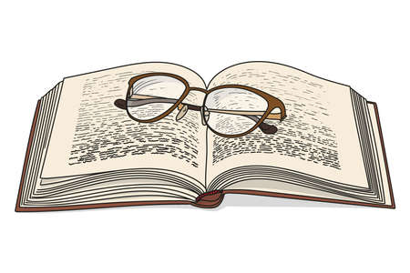 An open book with glasses isolated on white background.