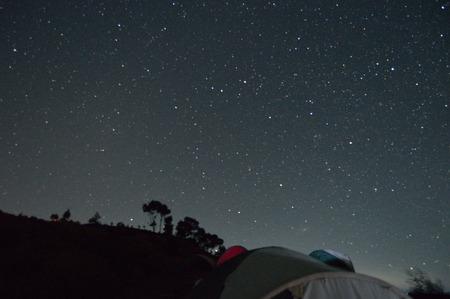 night scenery: The night scenery at mount Prau Indonesia Stock Photo