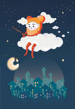 restful: Little boy sitting on the cloud at night. ESP 10 vector file with editable elements. Illustration