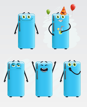 exited: Five refrigerator with different moods.  Illustration