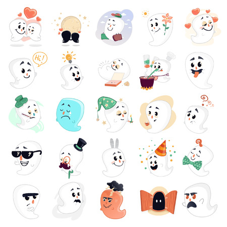 moods: Illustration with 25 cute ghosts. They all are with different moods and emotions.  Illustration