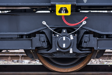 buffers: Burgas, Bulgaria - January 24, 2017 - Wheel - Freight cargo train - 6-axled flat wagon - Sahmmn - WW 604 A- Transvagon AD