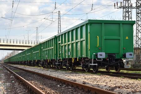 buffers: Burgas, Bulgaria - March 20, 2017 - Freight cargo train - 4axled box wagon Type:Eanos Model:155-1 - Transvagon AD