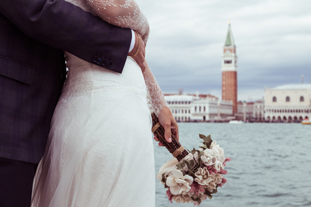 bride and groom in Venice Stock fotó