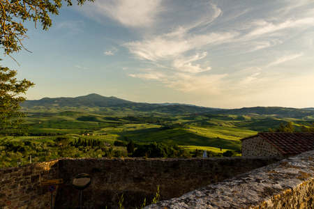 A Fantastic View Of The Val D Orcia Valley At Sunset From Pienza