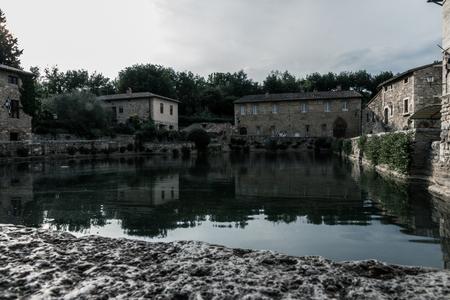 Bagno Vignoni Main Thermal Bath 스톡 콘텐츠