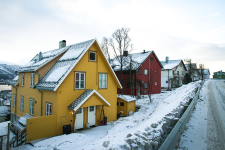 Colorful Houses Near The Road In Tromso