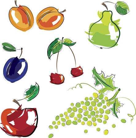apricot: Vector illustration - set of fruits