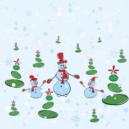 Christmas background. Winter card with snowmans. Vector illustration Vector