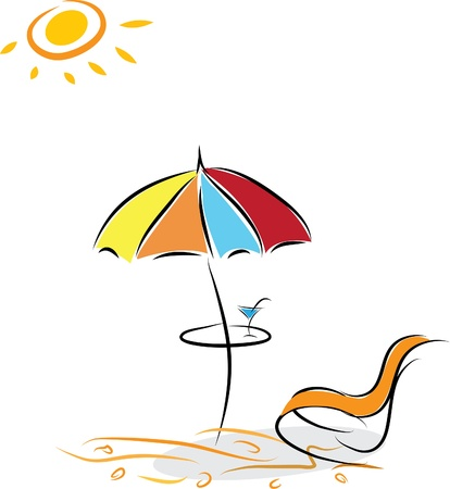 Beach chair and umbrella with cocktail. Vector illustration