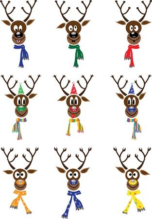 ベクトル設定クリスマス面白いトナカイを  イラスト・ベクター素材