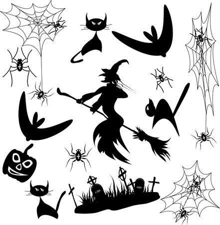 cobwebs: Vector Set Halloween (bat, cat, spider, witch, pumpkin) Illustration