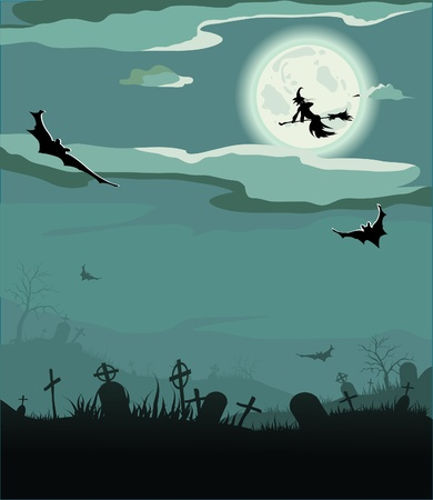 halloween cartoon: Halloween night (bat,grave, gravestone, graveyard, moon, house, tree, witch)