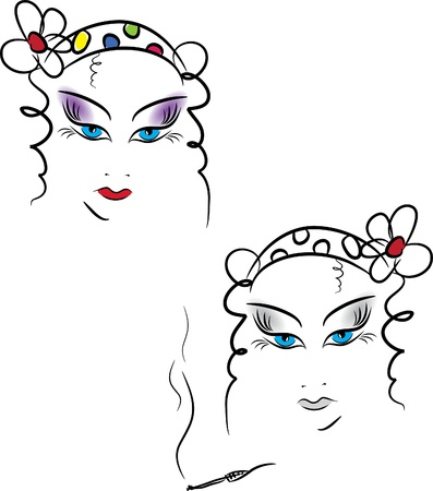 hair do: Beauty women face with makeup. Vector illustration