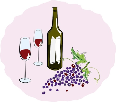 Bottle of red wine with a glass and a brush of grapes. Vector illustration Vector