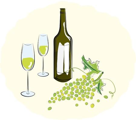 ガラスと光のブドウのブラシ白ワインのボトル。ベクトル イラスト  イラスト・ベクター素材