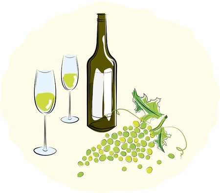 wine vineyards: Bottle of white wine with a glass and a brush of light grapes. Vector illustration Illustration