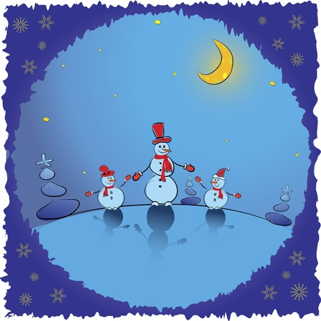Christmas background. Winter card with snowmans. Vector illustration Stock Vector - 11160171