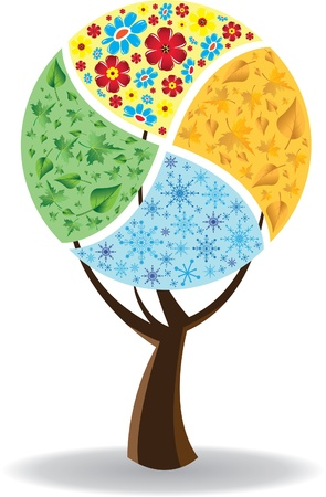 Four seasons. Spring, summer, autumn, winter. Art tree Vector