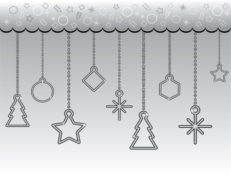 chainlet: Christmas background (chainlet, fir-tree, circle, rhombus, polygon, star, square, snowflake) Illustration