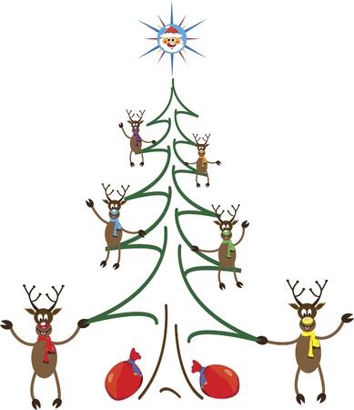 Christmas with Santa and reindeers on the Christmas tree Vector