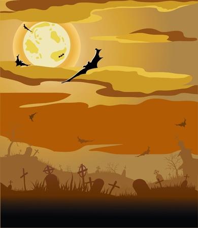 Halloween night (bat,grave, gravestone, graveyard, moon, house, tree) Stock Vector - 11264447