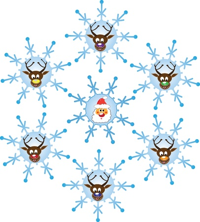 Christmas time with Santa and reindeers. Illustration  Vector