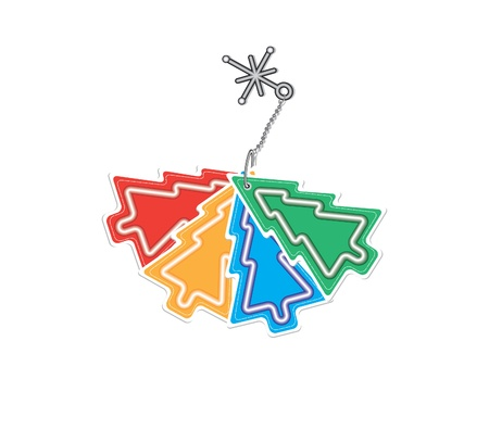 color trinket in the form of christmas tree Vector