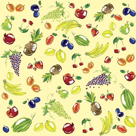 set of fruits. Background Vector