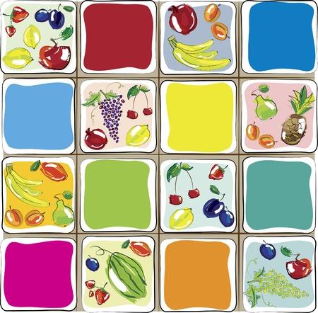 set of fruits. Design for kitchen