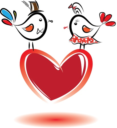 humorously: Birds with love. Valentine day.