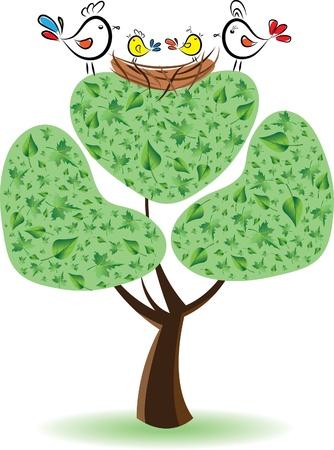 雛とツリー上の鳥。