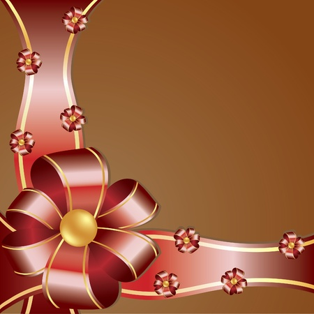 synopsis: Red bow on isolated brown. Vector illustration
