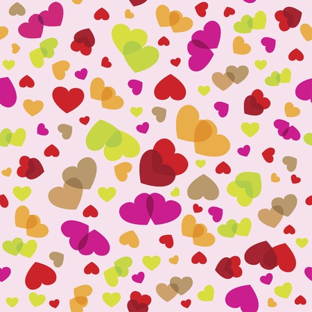 synopsis: Seamless romantic pattern with hearts in color