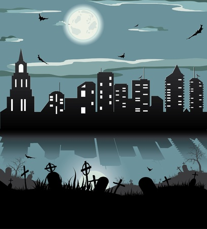 horror house: Halloween night background (bat,grave, gravestone, graveyard, moon, house, tree, town)