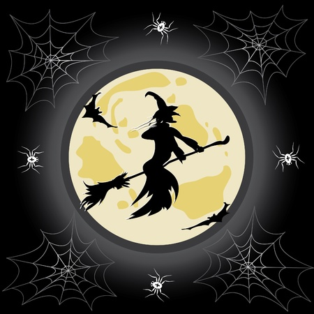 Halloween background with witch and spider. Vector