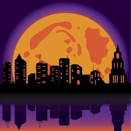 moonlit: Halloween background night city. Vector illustration Illustration