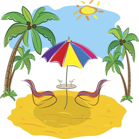 Beach with palm trees, chair,umbrella  and a cocktail. Art illustration   Stock Vector - 12319986