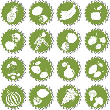 Set of  fresh fruits. Element of design for sticker. Vector