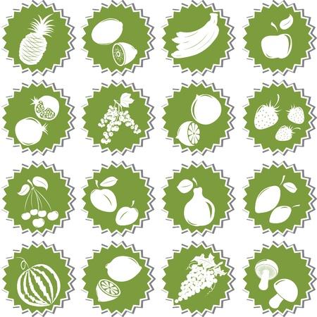 Set of  fresh fruits. Element of design for sticker. Stock Vector - 12319987