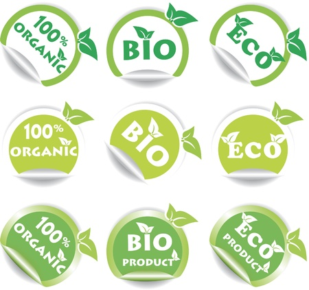 capable: Set of green bio and eco stickers. Vector illustration