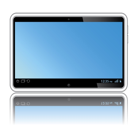Digital tablet with blue screen. Isolated on white Vector