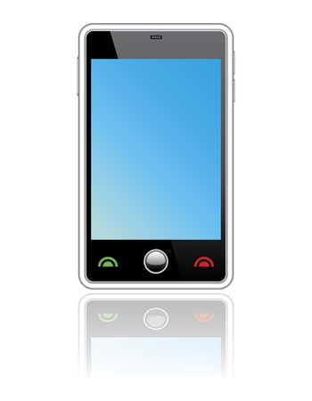 dialing: Abstract  touchscreen smart phone.Isolated on white